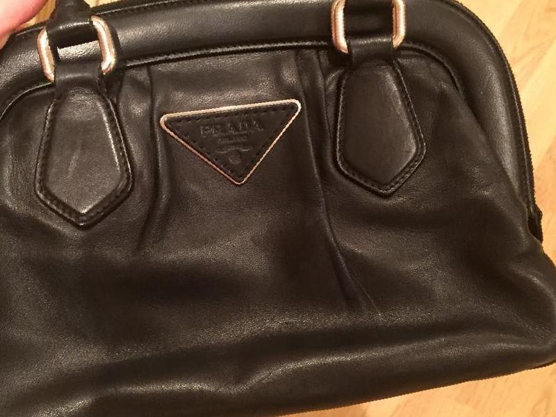 Кожаная сумка-портфель Prada, черная, арт 018-13